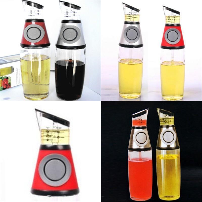 프레스 오일 냄비 측정 가능한 오일 유리 병 스케일 누출 방지 식초 병 주방 디스펜서 조미료 포트 컨테이너 11cm H1