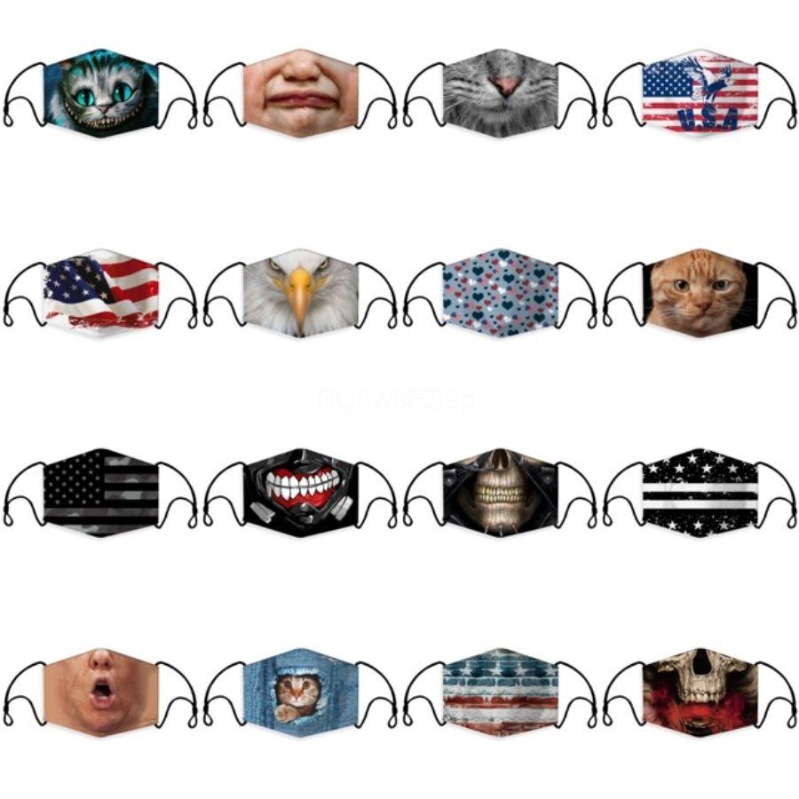 Mode réutilisable enfants design Masque Masque bouche avec Breath Valve Anti-poussière Tissu masque avec filtre lavable # 780