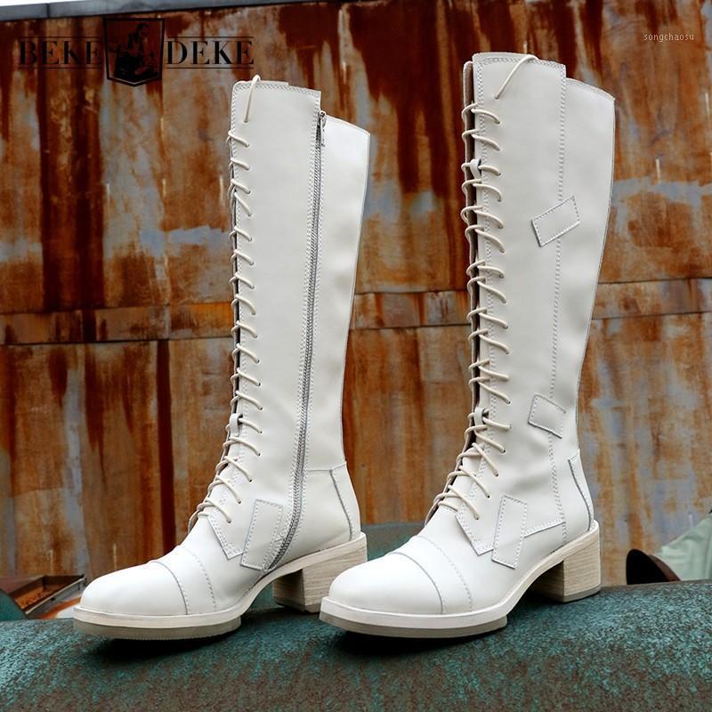 Genuine Women Couro Winter Knight Block Med Heels Lace Up Knee Alta Motocicleta Equitação Botas Casuais de Segurança Sapatos1