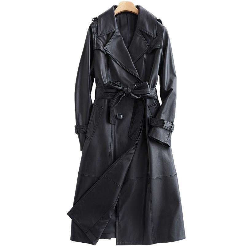 LAUTARO Uzun Kollu Siyah Deri Trençkot Kadınlar Için Uzun Kollu Kemer Yaka Kadın Moda Lüks Bahar Artı Boyutu Giyim 7XL 201223