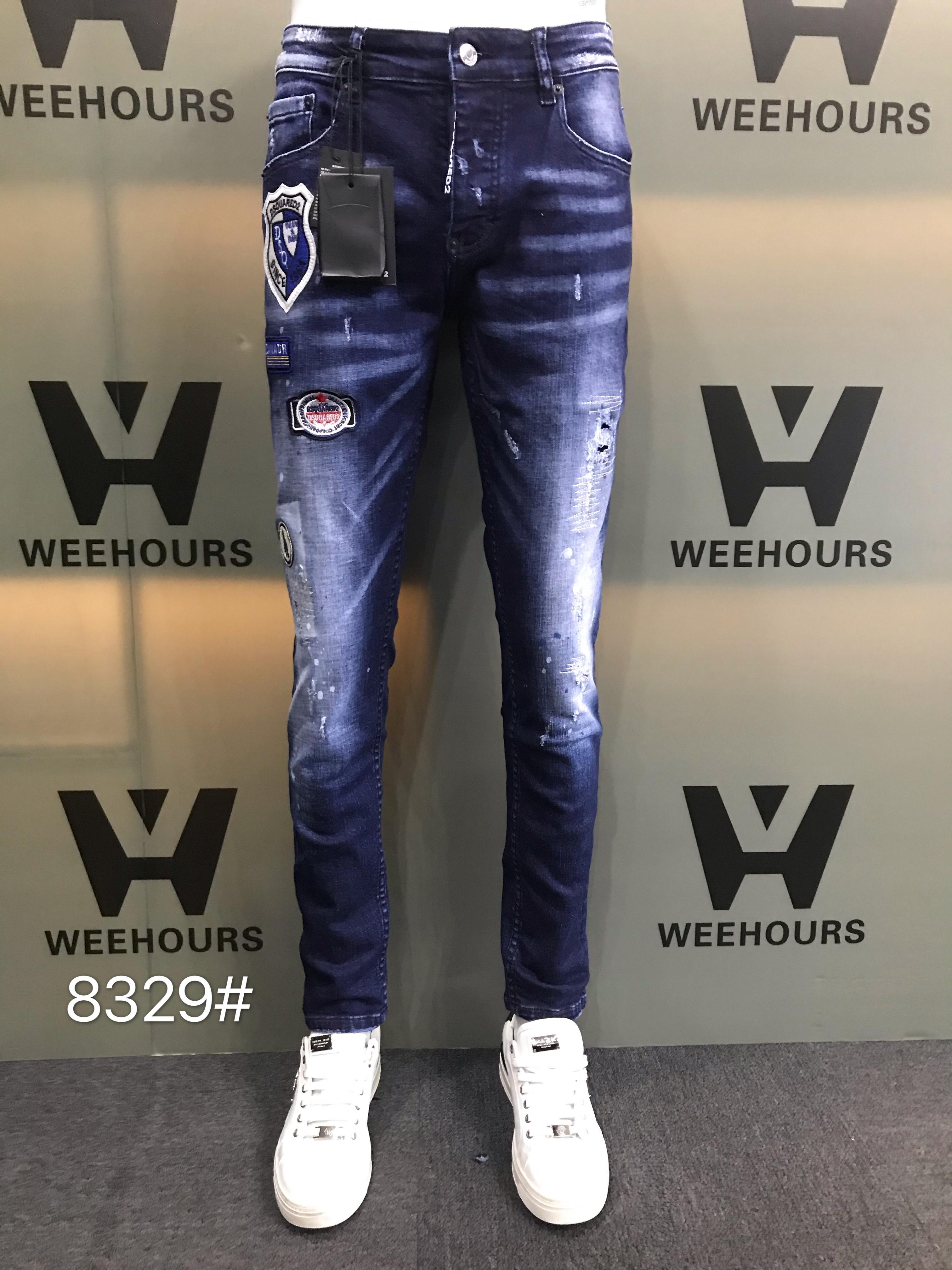 Оптовая мужская тощая прямая стройная эластичная джинсовая ткань Biker джинсы брюки длинные брюки стильные прямые тонкие пригодные джинсы 8329-8331