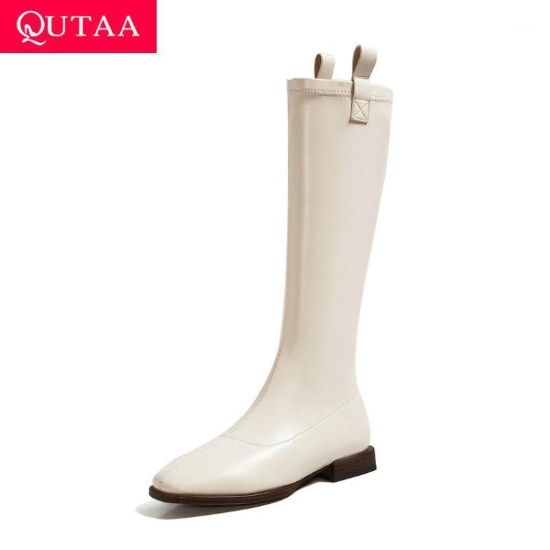 QUTAA 2021 Schnalle quadratische Zehe Square Ferse Slip auf Frauen Schuhe Herbst Winter Qualität PU Leder Mode Knie Hohe Stiefel Größe 34-431