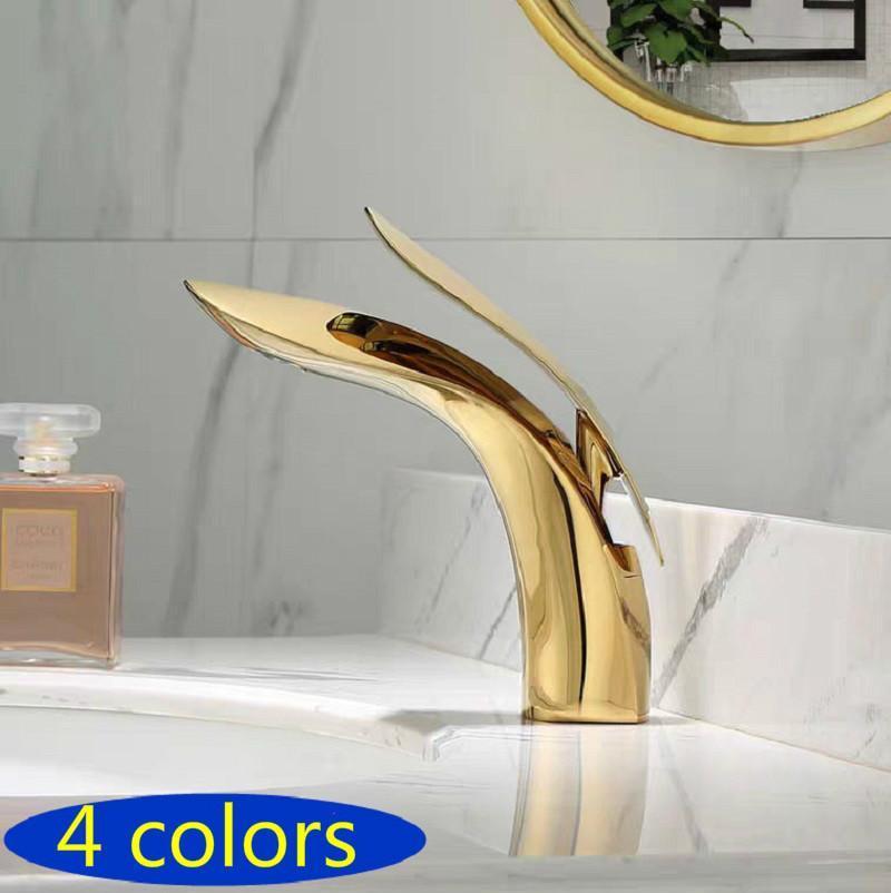Бассейной кран одно ручка золото / хром / черный латунный кран горячая холодная листья мойка смеситель для ванной комнаты