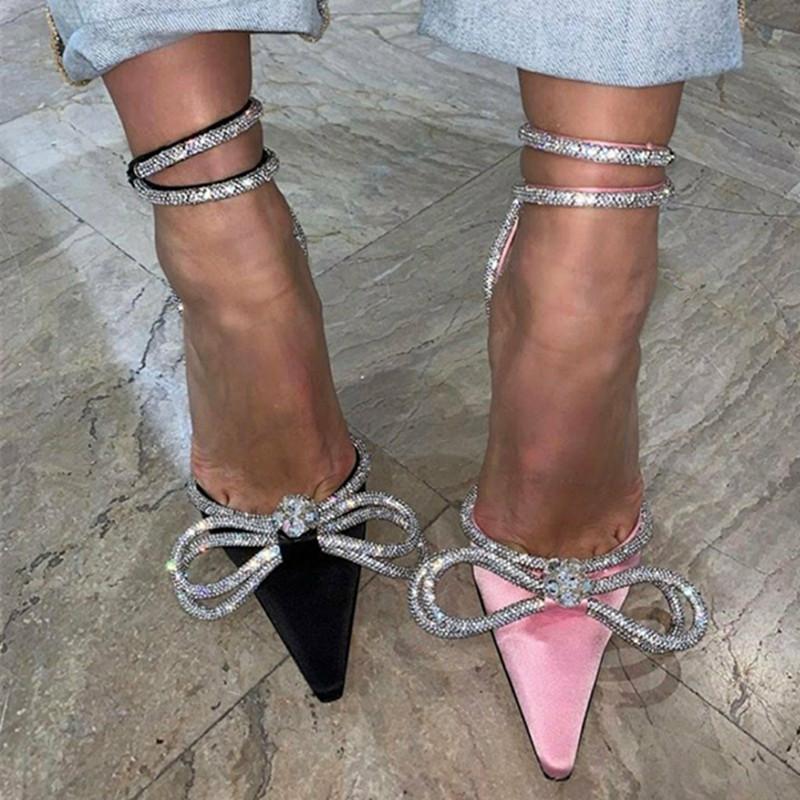 2021 High Sexy Sandalias de lujo de las mujeres Bowtie Bowtie Tacones de cristal de la novia de la boda Las damas de la novia zapatos 7BA2