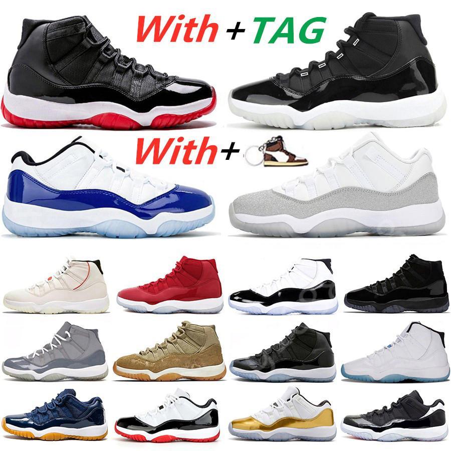 SICAK SATIŞ 25. Yıl 11 Concord 45 basketbol ayakkabıları Beyaz Metalik Gümüş Şapkanız Gym Bred 11'leri kadın Erkek Eğitmenler Sneakers kırmızı