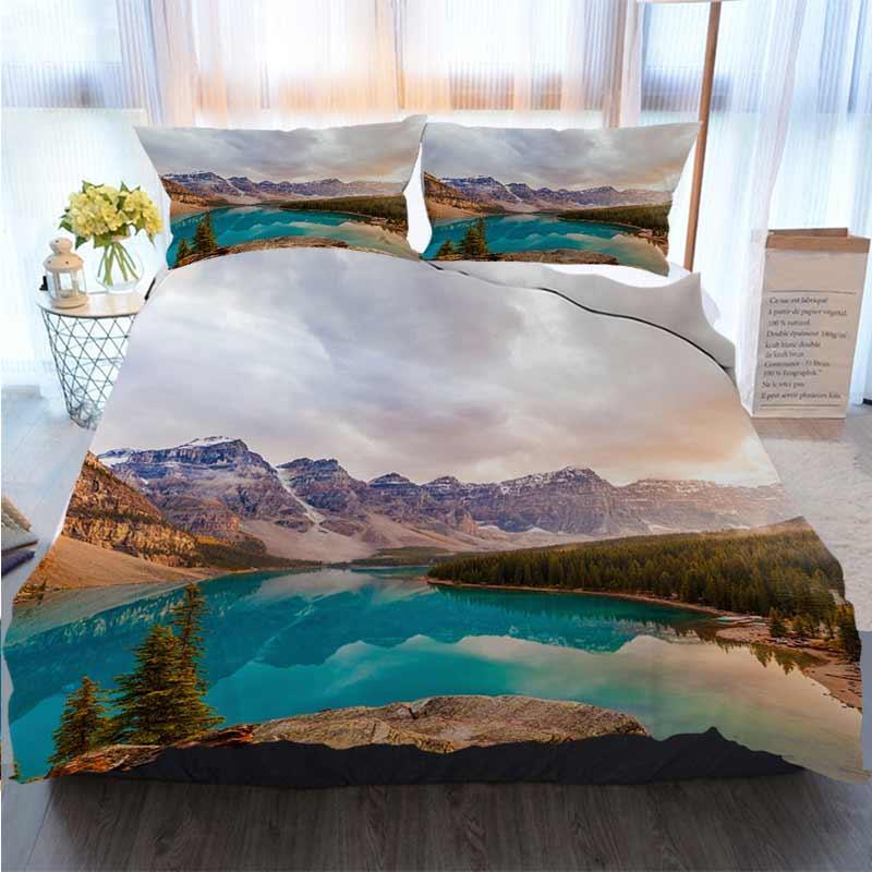 3D Sets Designer cama Lago Moraine, Parque nacional de Banff edredon cobrir Edredons Designer cama Jogo