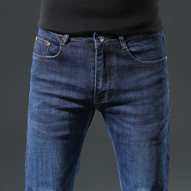 2021 men's autumn and winter new jeans Slim small feet Korean pants