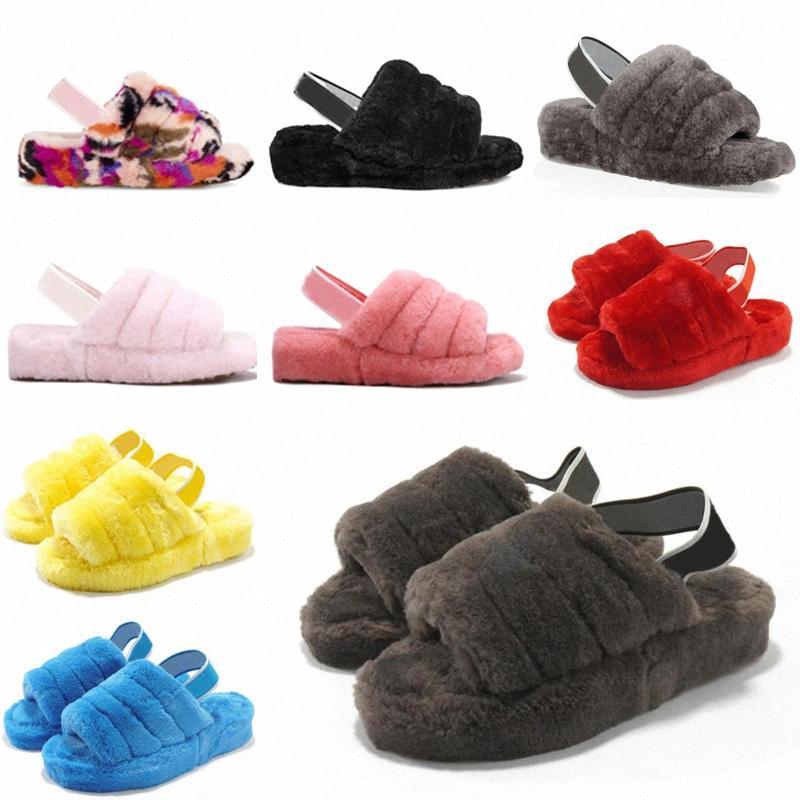 2021 Kadın Kürklü Terlik Kabartmak Yeah Slayt Sandal Avustralya Bulanık Yumuşak Ev Bayanlar Bayan Ayakkabı Kürk Kabarık Sandalet Erkek Kış Slipp 63sf #