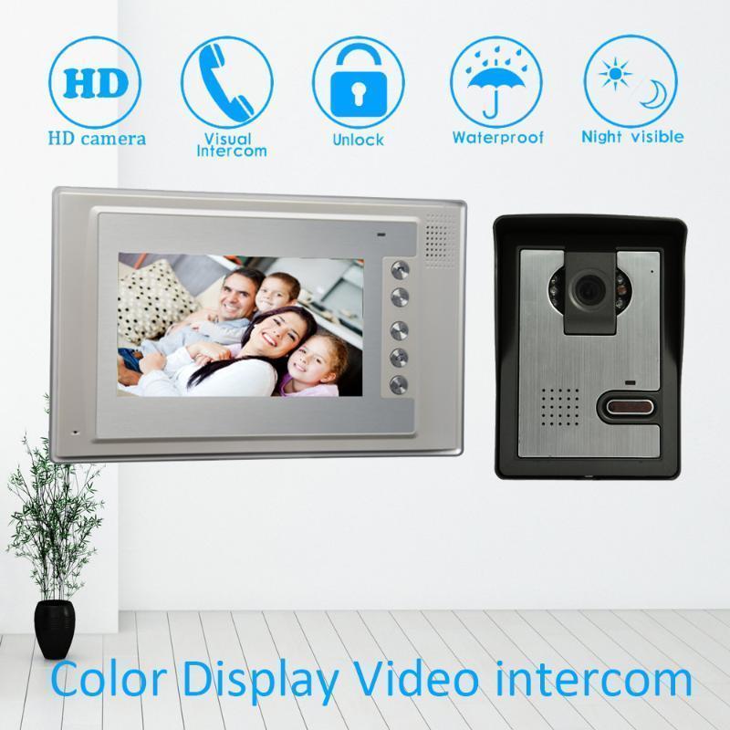 Video-Door-Telefone intelligentes Zuhause 1 zu Türklingel mit HD-Nacht-Version-Kamera 7 Zoll Telefonsystem Entsperren für Sicherheit nach Hause