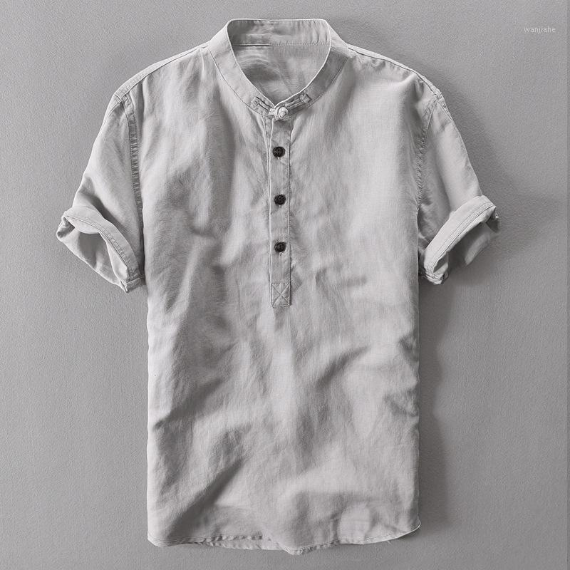 2020 sommer männer kurze särthirts atmet cool shirtskotton und leinen shirt männer kopf sommer chinesisch wind1