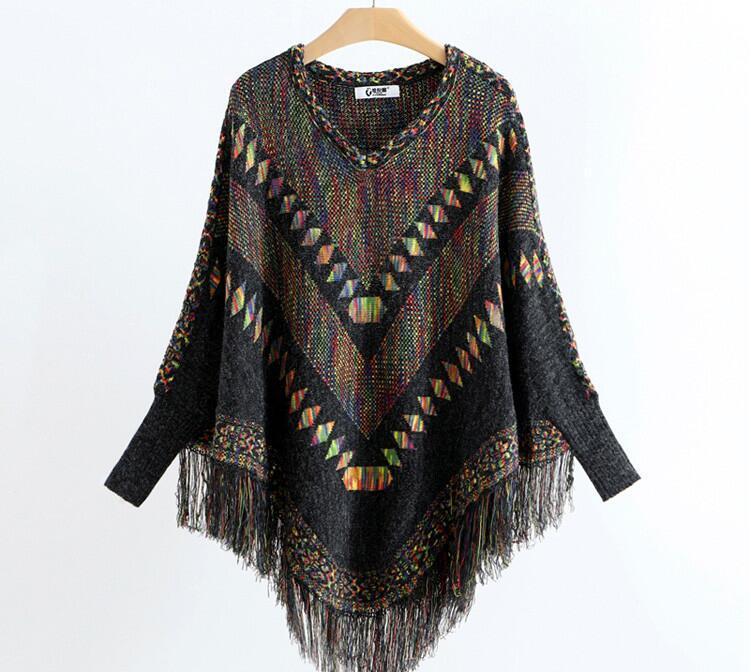 2020 neue Frauen-Retro Quaste Schal Mantel Pullover Farbabmusterung Pullover Mantel freies Verschiffen