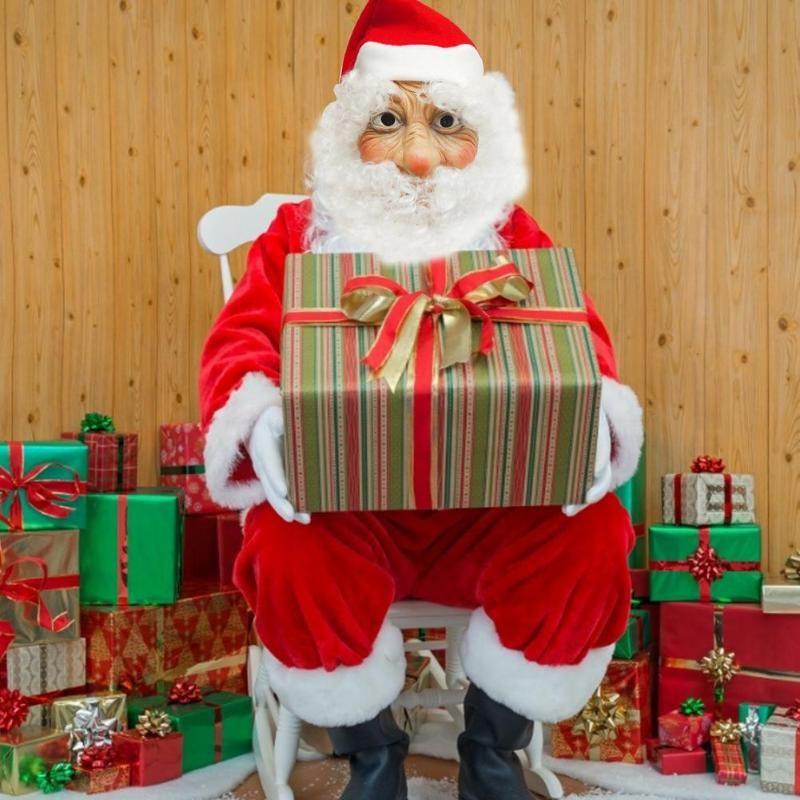 Santa Claus Latex Mask Outdoor Ornamen Cute Santa Claus Costume Masquerade Wig Beard Dress Up Chirsmats Dress Up Hat