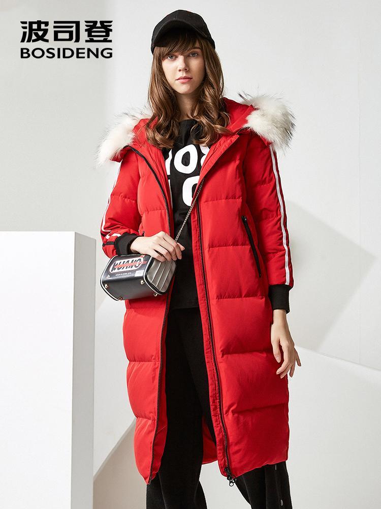 Bosideng mulheres para baixo jaqueta grande tamanho x-longo para baixo parka 90 pato para baixo grande pele real superknee impermeável outwear quente B70142144 210204