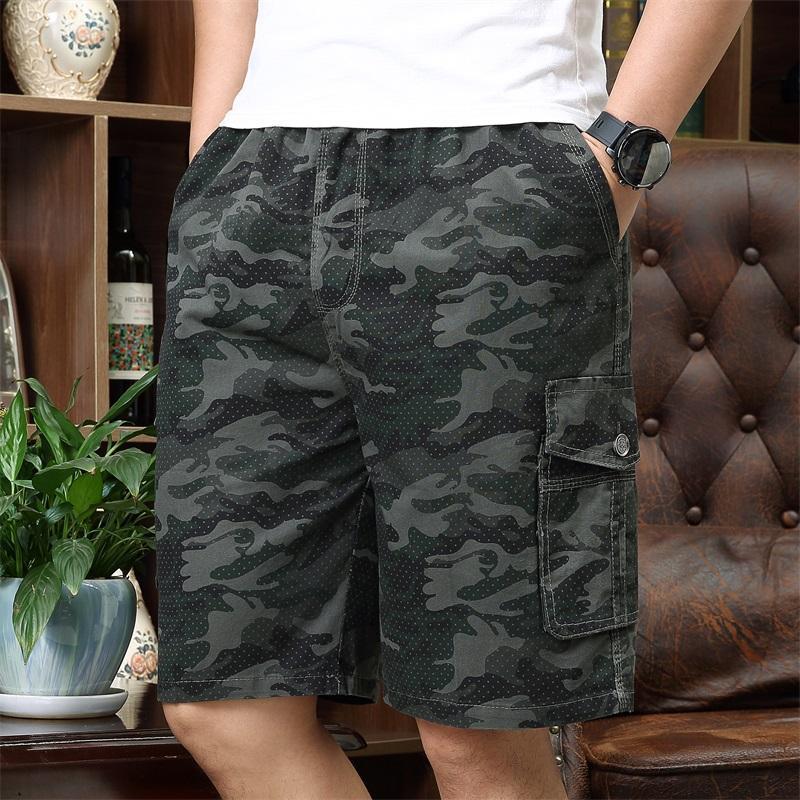 Shorts de carga para hombre Pantalones cortos de algodón verde del ejército de verano hombres sueltos multil-bolsillo homme casual bermudas pantalones 5xl