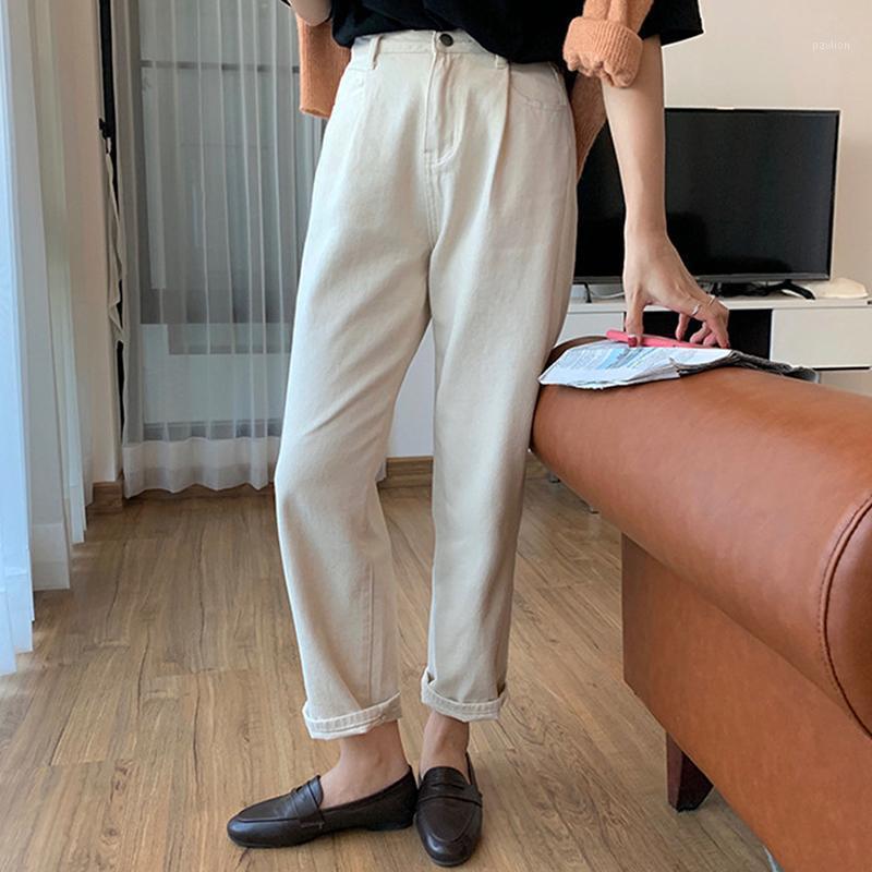 Женские брюки CAPRIS белый хлопок высокая талия прямые женщины 2021 старинные повседневные женские уличные одежды Свободные карманные брюки сгущает широкую ногу P