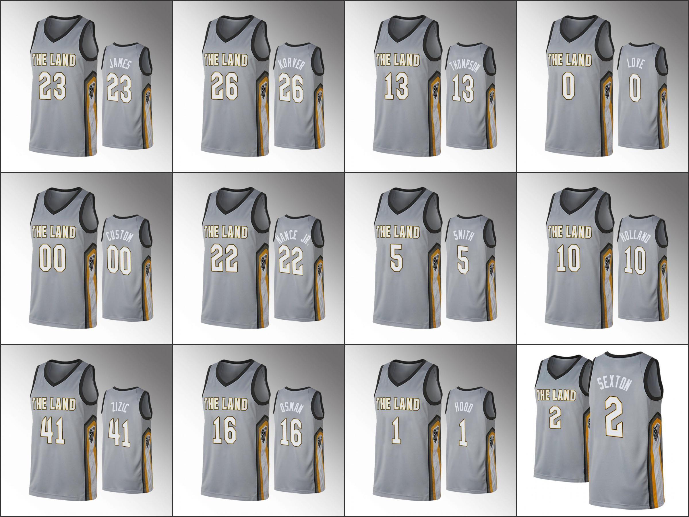 NCAA ClevelandCavaliersMen Kevin Love Andre Drummond J.R. Smith Ante Zizic Collin SextonNBA GrayCity Custom Jersey
