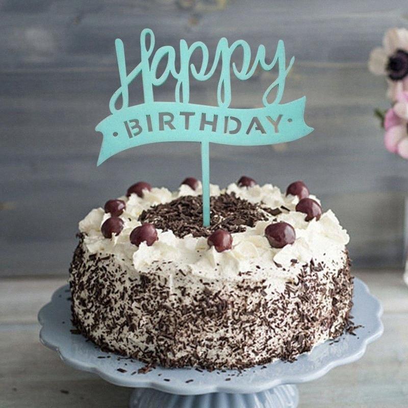 """Blu Rosa acrilico a righe Banner """"Happy Birthday"""" cake topper Dessert della decorazione per la festa di compleanno regali belli Freeshipping ZqID #"""