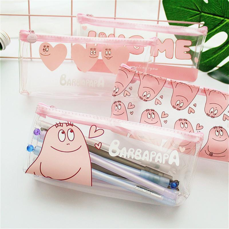 1pcs/sell Kawaii Pencil Case transparent cute Pink Baba pattern School Supplies Student Stationery Gratitude Christmas Gift