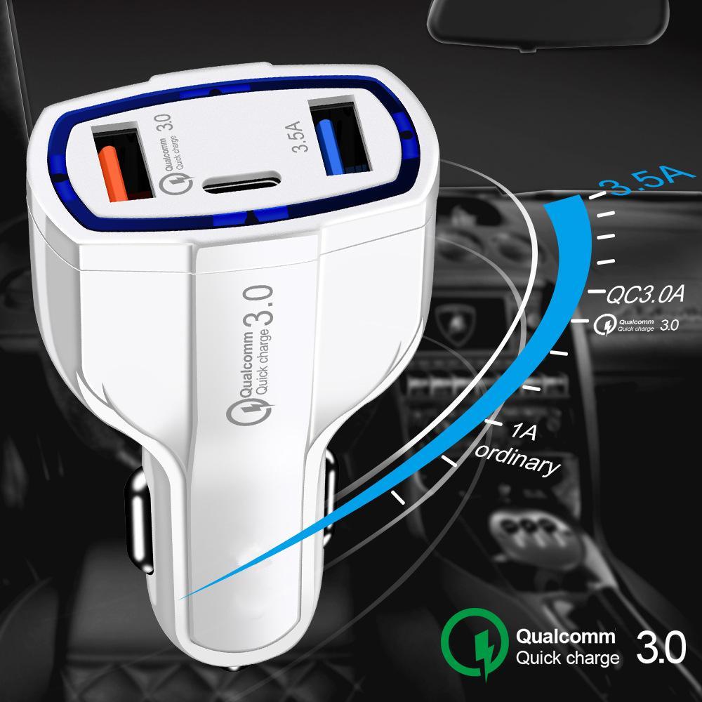USB C 자동차 충전기 빠른 충전 유형 C QC 3.0 아이폰에 대 한 자동차 전화 충전 어댑터에 대 한 빠른 PD USBC 충전기 삼성