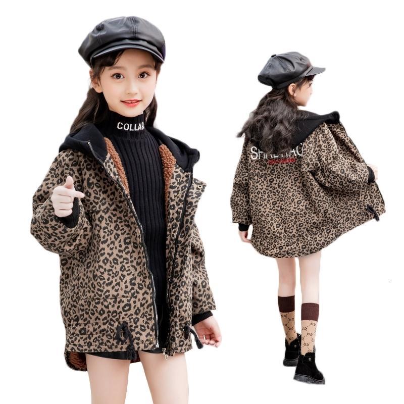 Velvet cappotto incappucciato delle ragazze dei ragazzi del leopardo di modo Giacca di jeans per bambini Adolescente Casual bambini Giacca a vento della tuta sportiva vestiti B249