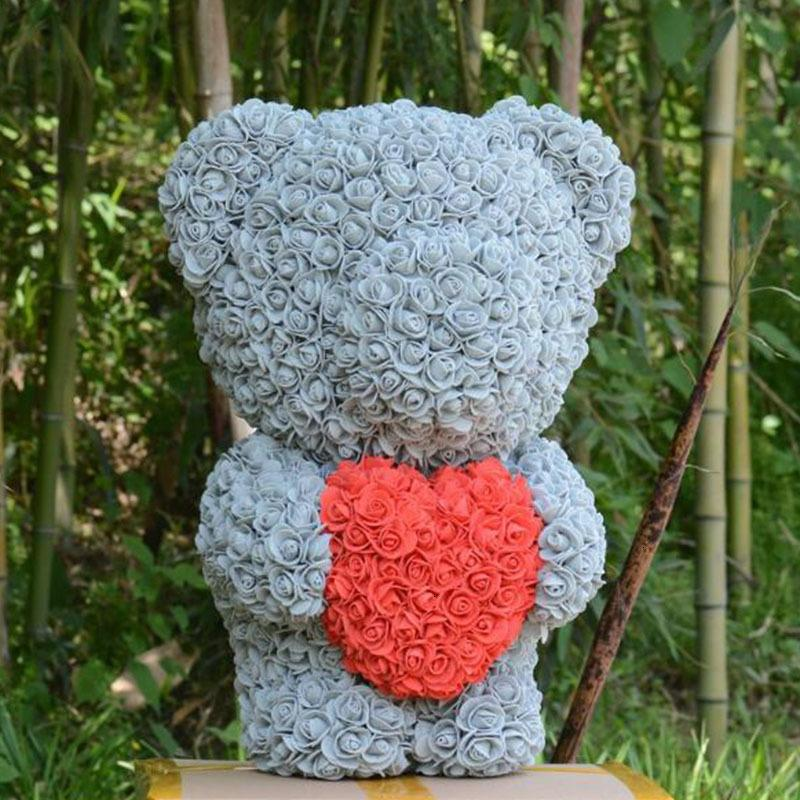 Rose Heart Artificial Bear 40cm High Pe for Everlasting Foam Flower Surprise Gift Doll Home Docoration Lovely Toy