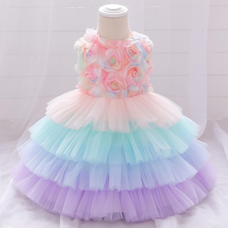 2021 Christmas Petal Toddler Infant 1st Birthday Dress For Baby Girl Clothing Cake Tutu Dress Princess Dresses Party And Wedding F1230