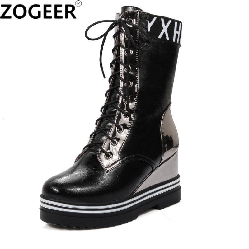 Takozlar kadın çizmeler kış platformu ayakkabı kadın dantel-up kırmızı ayak bileği çizmeler moda yüksekliği artan rahat siyah kadın ayakkabı 201103