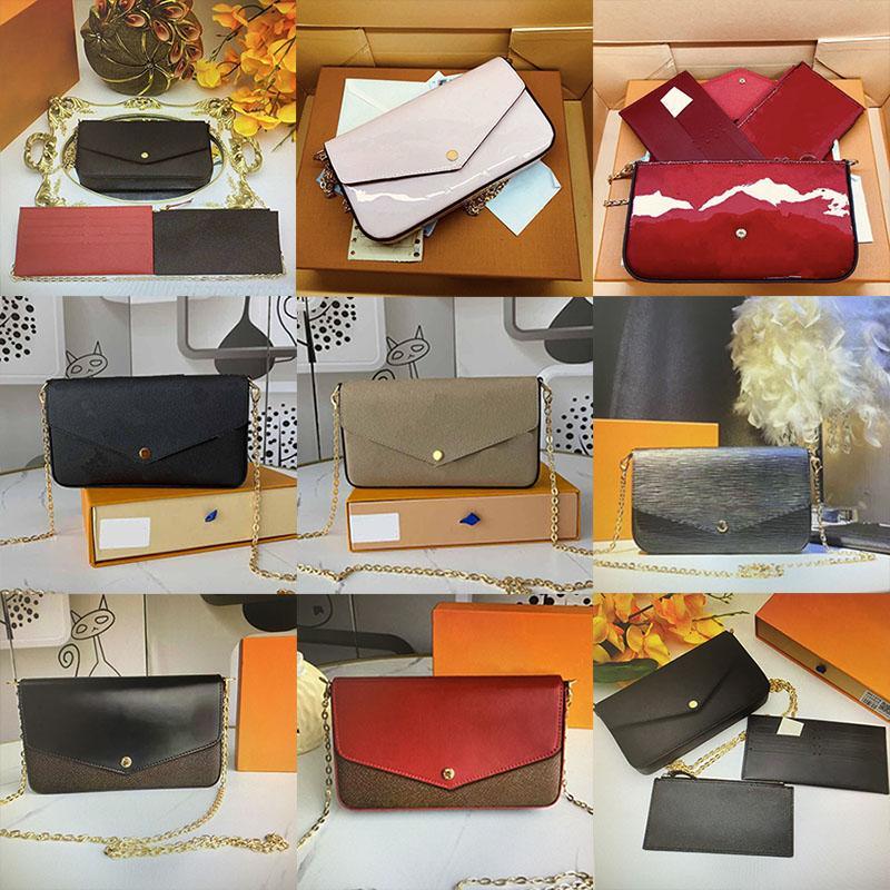 Luxurys Designer Taschen Brieftasche Kette Strap Umhängetaschen Multiple 3 teile Set Frauen Crossbody Karten Bithalter Geldbörsen