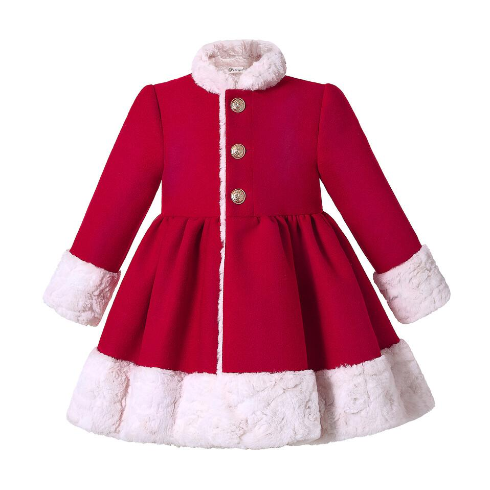 Pettigirl Red Girls Winter Coat Round Collar Single Breasted Christmas Girls Coat With Headdress Kids Outwear Clothing G-DMOC307-A570
