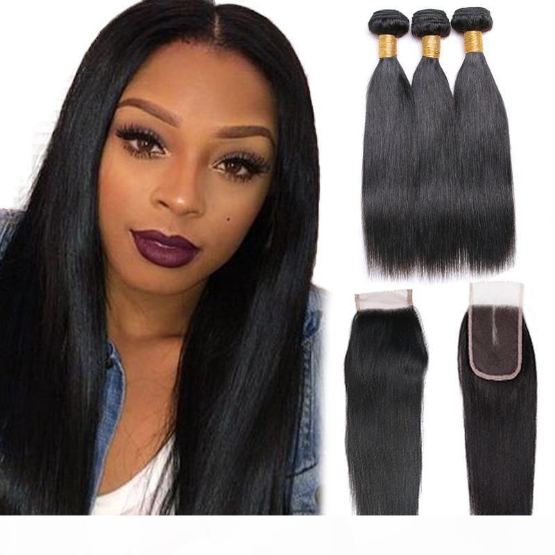 Brasiliana diritta dei capelli umani 3 pacchi 7A estensioni dei capelli umani al 100% non trattati Remy tessuto brasiliano dei capelli Bundles Natural Color