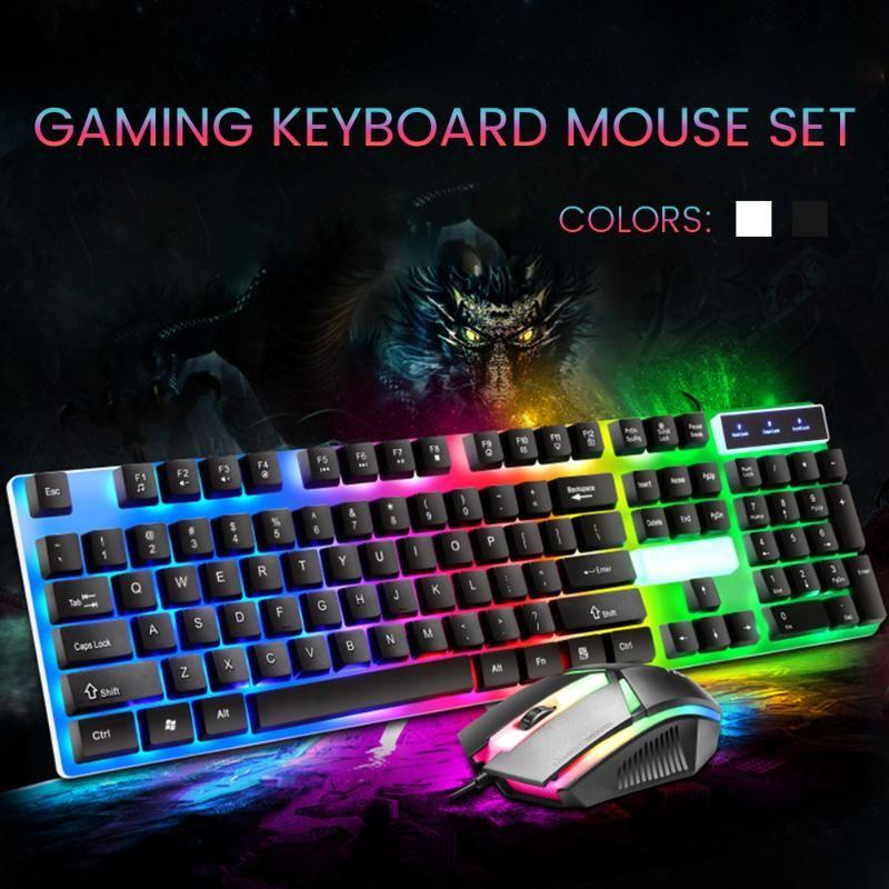 Arka Işık RGB ile Oyun Klavyesi LED Klavye ve Fare Kablolu Oyun PC Dizüstü Bilgisayar Pembe Siyah Beyaz