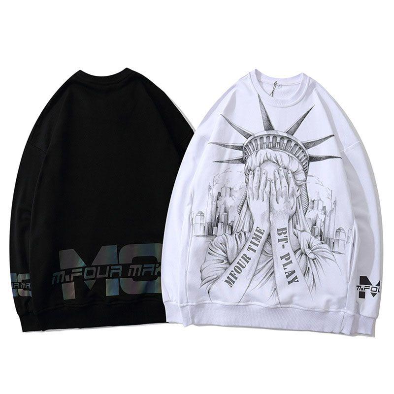 Мода Женщины Толстовки 2020 Autumen Winter Hot Street Elements Мужчины Толстовка Повседневный пуловер Пара Top Black White2 Стиль Доступный размер S-XL