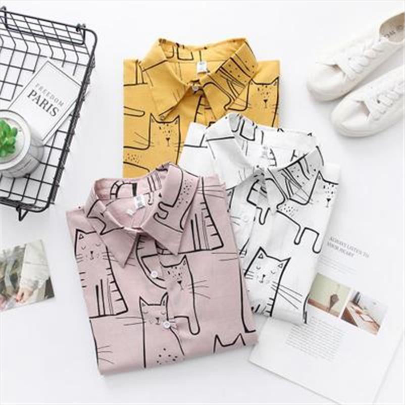 Dioufond Женщины 2020 моды Turn Down Воротник с длинным рукавом Блузка рубашка Cute Cat печати Сыпучие вскользь Blosues Топы Дамы