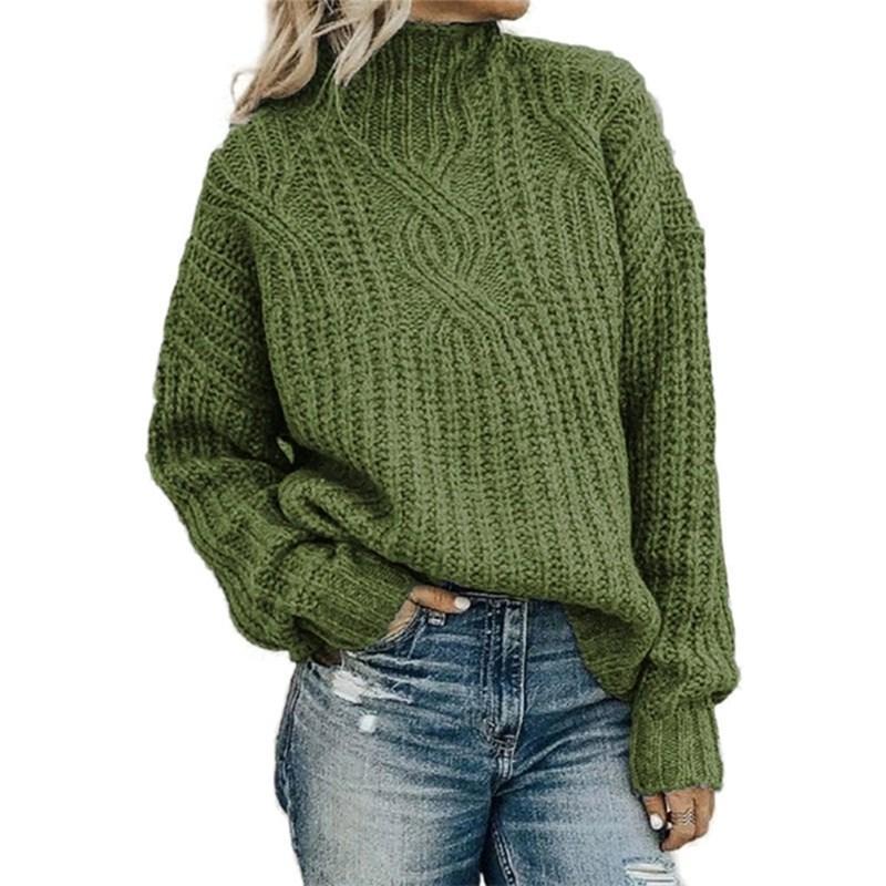 2020 новых европейских American свитер Женщины водолазки вязать пуловер Свитера женские Twist Top осень зима свитер