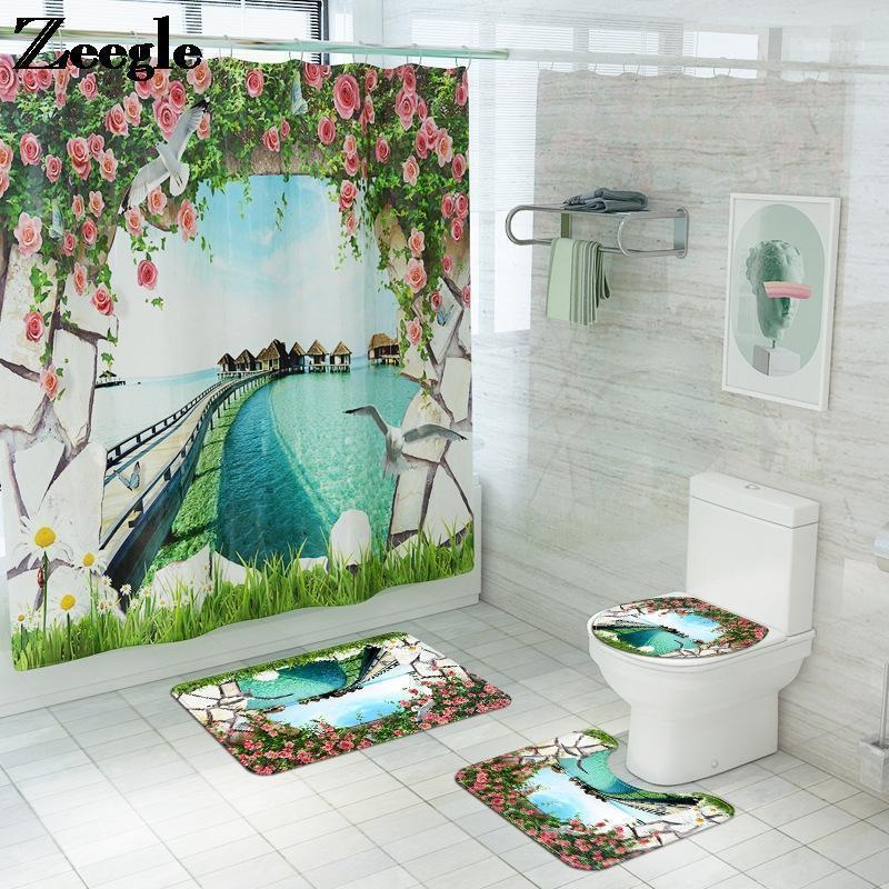Cuarto de baño Baño de baño y cortina de ducha Set Decoración para el hogar Cuarto de baño Alfombras Alfombras Ducha Ducha Decoración Absorbente Aseo Piso Alfombra 1