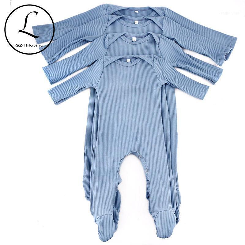 Newborn Baby Girls Boys Ribbed Cotton bodysuit romper Spring Summer Soft Footies For Toddler Childs Outfits customized Clothing1