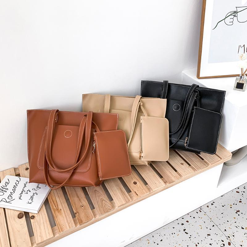 2pcs / Set Art und Weise große Kapazitäts-Schulter-Beutel-Frauen PU-Leder-einfache Kupplungen Einkaufen Handtaschen Reise Totes Composite-Set