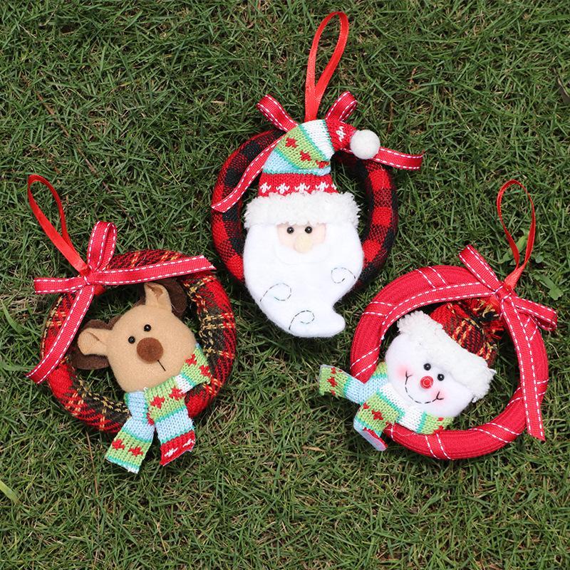 Быстрая доставка Рождество маленький клетчатый европейский стиль гирлянда пены кулон ручной работы венок елочные украшения для пожилых F8502