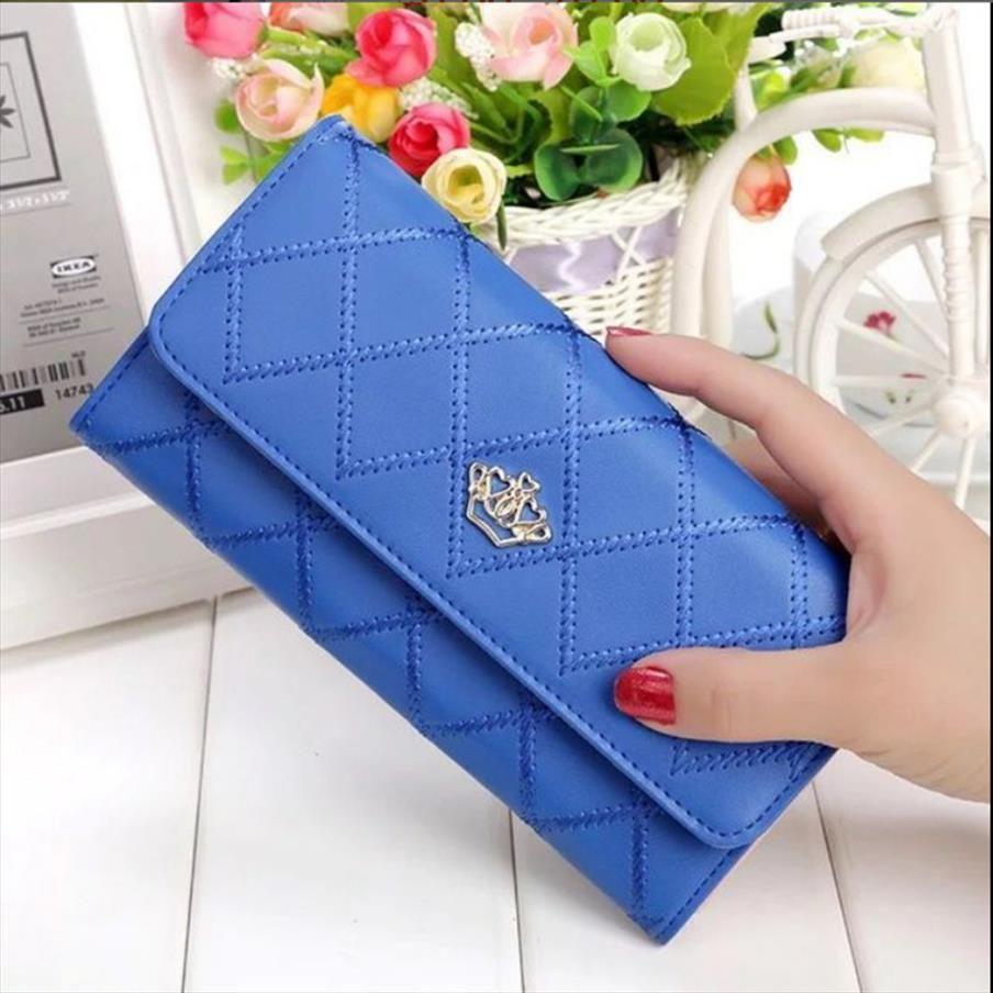 Mulheres Carteira manta Pu couro longo carteira Buckle Telefone Saco do dinheiro Cartão de bolso da moeda Titular Mulheres