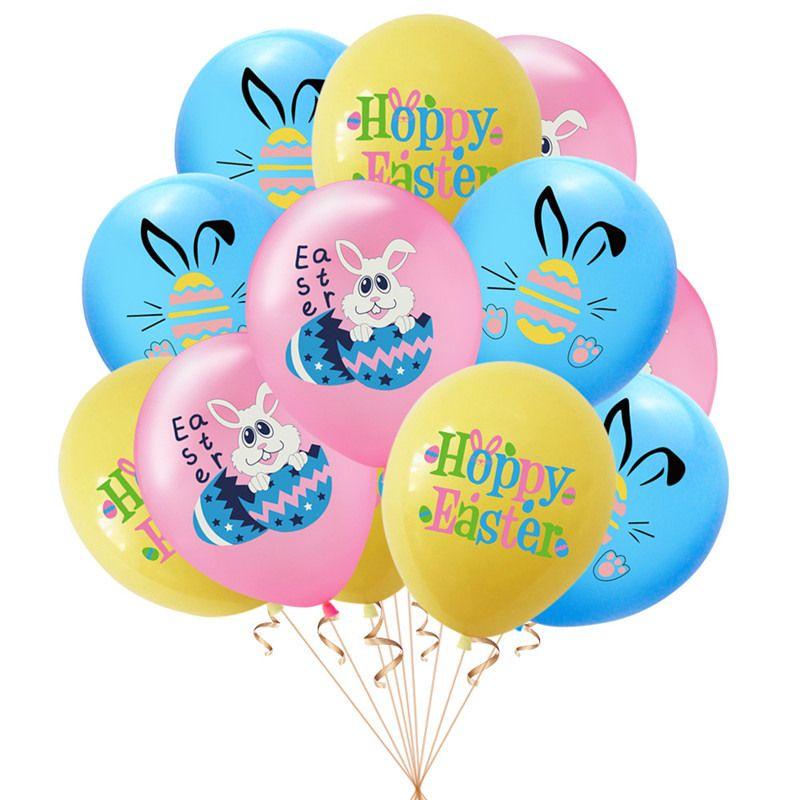 Lindo Pascua Conejo Globos Latex Air Balloon Pascua Huevos Decorativos Huevos de dibujos animados Bellny Globos Festival decorativo Suministros E122304
