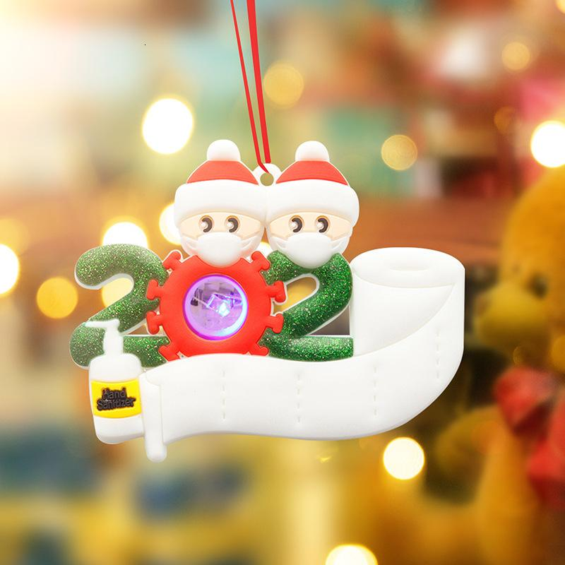 New 2020 Christmas Face Mask Snowmen Pendant With LED Light Series Decoration