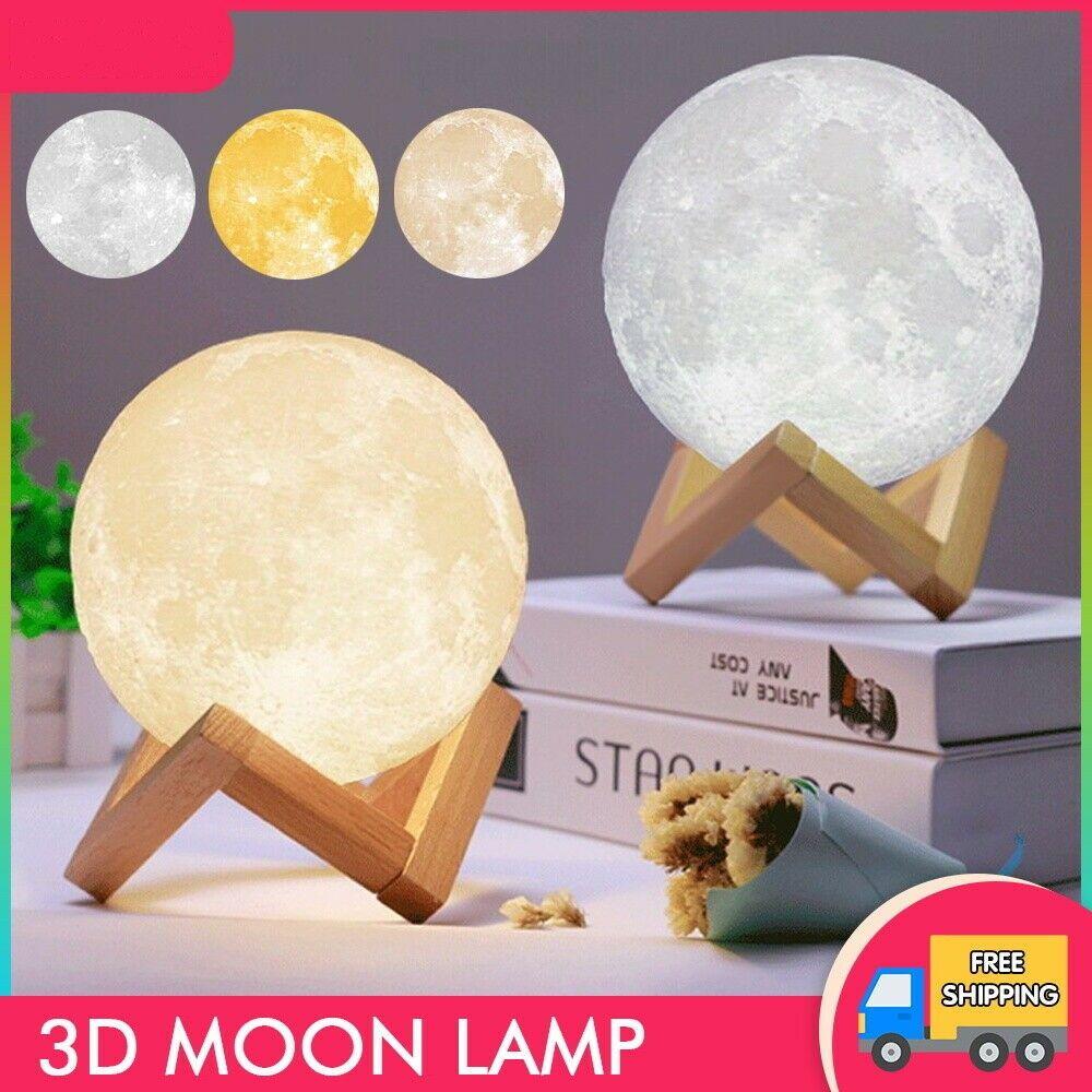 3D LED Gadget Gece Büyülü Ay Işıkları USB Moonlight Masa Lambası Dokunmatik Sensör Değişim Şarj Edilebilir Kısılabilir Renkler Ev Noel Dekorasyon Için Stepless