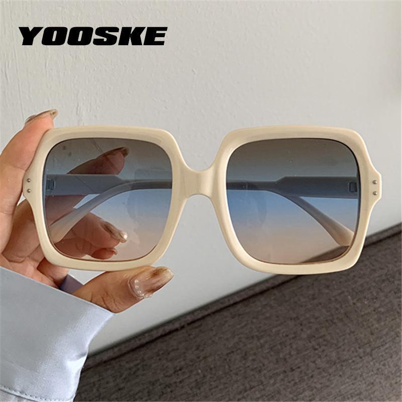 Gläser UV400 Yooske Frauen Tattes Sun Damen Eyewear Große Rahmen Brillen Sonnenbrille Gradient Oversize Rfojm