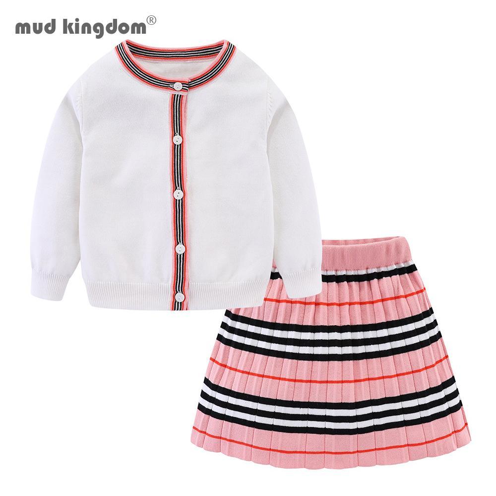 Mudkingdom toddler inverno roupas meninas conjunto de manga comprida camisola cardigan saia listrado vestido roupas para crianças meninas roupas 201126