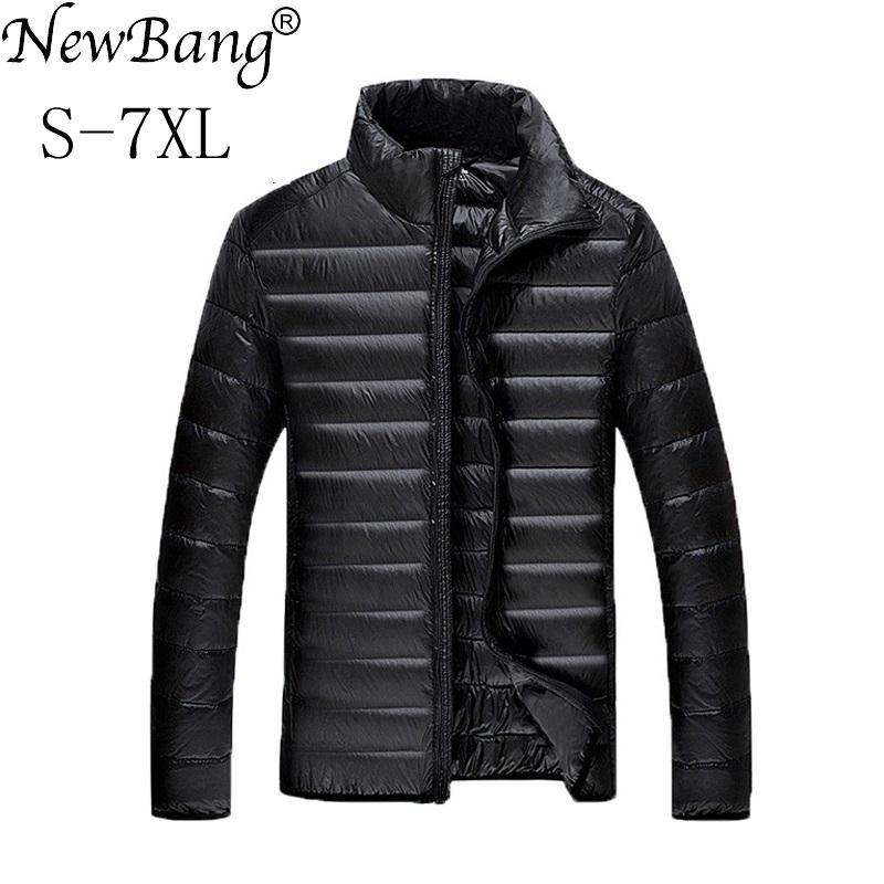 NewBang Plus 5XL 6XL 7XL Duck Down Jacket Men's Feather Ultralight Down Jacket For Men Park Outwear With Carry Bag Overcoat LJ201009