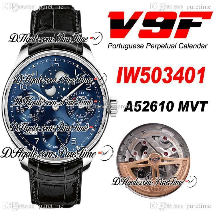 V9F Perpetual Calendar 503312 Çelik Mavi Dial Gümüş İşaretleyiciler Ay Fazlı Güç Rezerv A52610 Otomatik Erkek İzle Siyah Deri Puretime E5