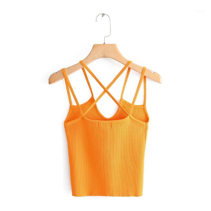 Женские танки Camis женщины вязаные V-образным вырезом блузка короткий стиль без рукавов летающие женские повседневные рубашки сладкие шикарные черные оранжевые топы Blusas1