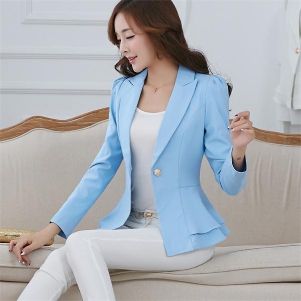 2019 Kadınlar Blazers Ve Ceketler İlkbahar Sonbahar Moda Tek Düğme Femenino Bayanlar Blazer Bayan Boyut ceket S - 3XL C 1008