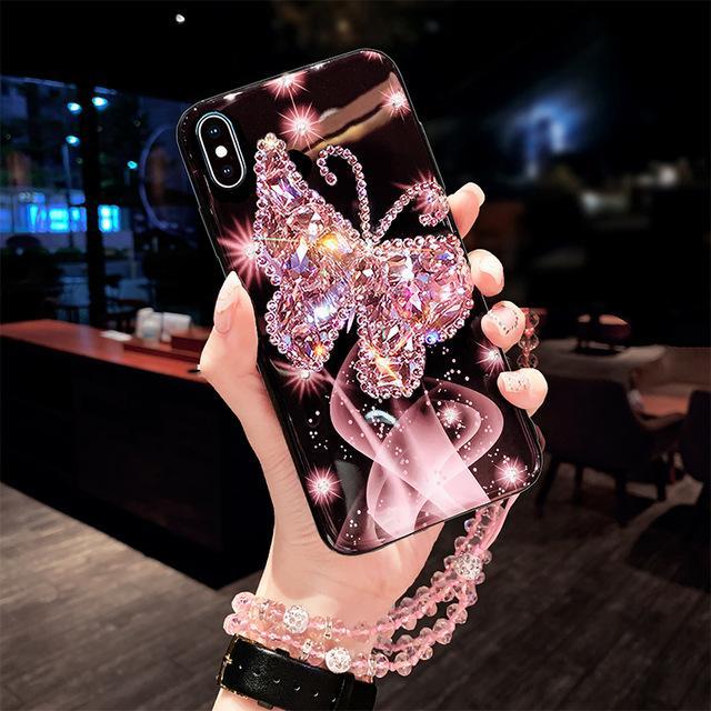 Para iPhone 12 11 Pro MAX X XS MAX XR 6 7 8 PLUS Funda telefónica Mariposa Diamante Glisten Cadena de cristal para iPhone12mini SE2020 Funda