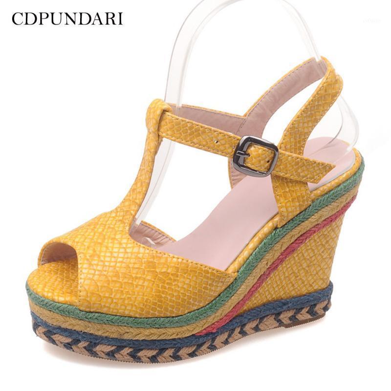 Sandalias bohemias Señoras Cuñas Sandalias para mujer Tacones altos Plataforma Summer Shoes1